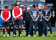 French President Emmanuel Macron salutes Neymar Jr and Kylian Mbappe of PSG during the teams' presentation before the French Cup final football match between Paris Saint-Germain (PSG) and Saint-Etienne (ASSE) on Friday 24, 2020 at the Stade de France in Saint-Denis, near Paris, France - Photo Juan Soliz / ProSportsImages / DPPI