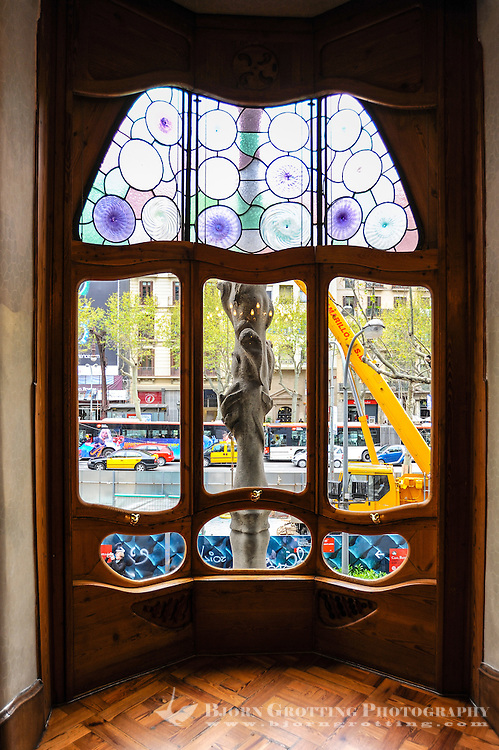 Spain, Barcelona. Casa Batlló is one of Antoni Gaudí's masterpieces. Window on the Noble floor