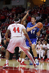 26 January 2016: Dominik Olejniczak(44) gets double teamed by DeVaughn Akoon-Purcell(44) and Deontae Hawkins(23) during the Illinois State Redbirds v Drake Bulldogs at Redbird Arena in Normal Illinois (Photo by Alan Look)