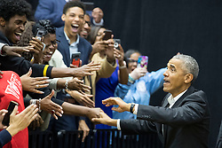 Former President Barack Obama greets audience members during a rally for gubernatorial candidate Stacey Abrams in Forbes Arena at Morehouse College in Macon, GA, USA, on Friday, Nov. 2, 2018. Photo by Alyssa Pointer/Atlanta Journal-Constitution/TNS/ABACAPRESS.COM