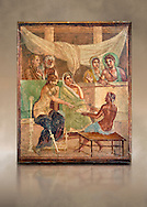 Detail of the Roman fresco wall painting of all the characters in the story of Admetus who, aided by Apollo made the Fates agree not to take Admetus on his 'death day' if he could find someone else to replace him, his wife, Alcestis, dies instead of Admetus but as she decends into the Underworld he discovers that he no longer wants to live without her, Pompeii House of the Tragic Poet, inv 9026, Naples National Archaeological Museum, art background .<br /> <br /> If you prefer to buy from our ALAMY PHOTO LIBRARY  Collection visit : https://www.alamy.com/portfolio/paul-williams-funkystock - Scroll down and type - Roman Fresco Naples  - into LOWER search box. {TIP - Refine search by adding a background colour as well}.<br /> <br /> Visit our ROMAN ART & HISTORIC SITES PHOTO COLLECTIONS for more photos to download or buy as wall art prints https://funkystock.photoshelter.com/gallery-collection/The-Romans-Art-Artefacts-Antiquities-Historic-Sites-Pictures-Images/C0000r2uLJJo9_s0
