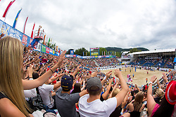 View on the main court at A1 Beach Volleyball Grand Slam tournament of Swatch FIVB World Tour 2014, on July 31, 2014 in Klagenfurt, Austria. Photo by Matic Klansek Velej / Sportida.com