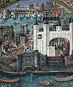Henry VII (1457-1509) King of England and Ireland from 1485. First Tudor monarch.  King at Tower of London greeting a guest, looking out of a window, signing a document in the White Tower. In background is Old London Bridge across the river Thames. In foreground the Thames is rowing boats and water gate into the tower. From manuscript of Poems of Charles Duke of Orleans. Narrative in  illustration.