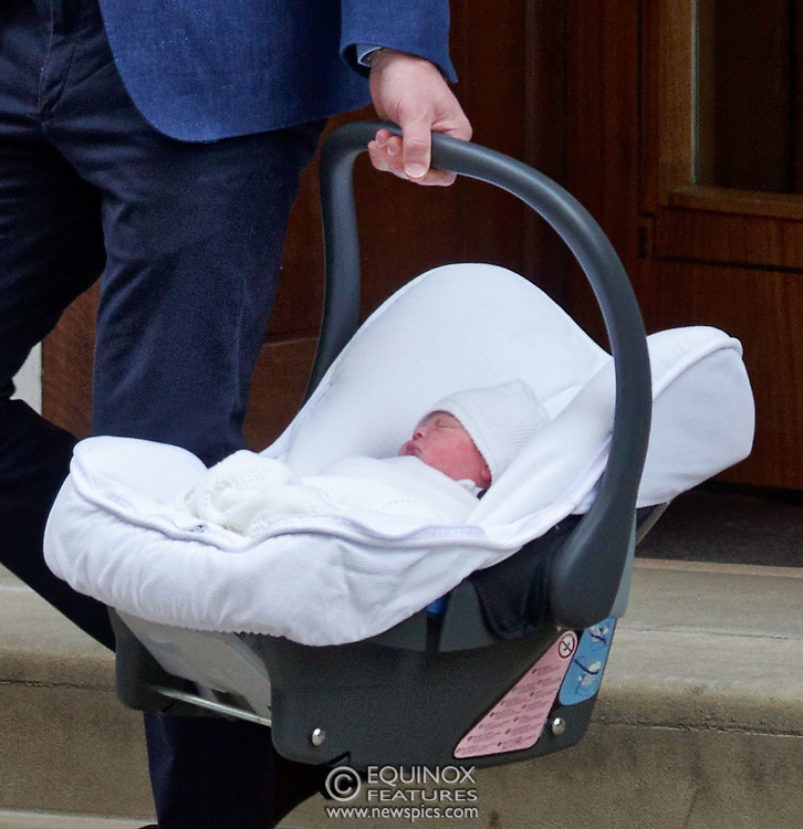 London, United Kingdom - 23 April 2018<br /> Prince William and Kate Middleton, The Duke and Duchess of Cambridge show off their new baby as they leave the Lindo Wing of St. Mary's Hospital, Paddington, London, England, UK, Europe.<br /> www.newspics.com/#!/contact<br /> (photo by: EQUINOXFEATURES.COM)<br /> Picture Data:<br /> Photographer: Equinox Features<br /> Copyright: ©2018 Equinox Licensing Ltd. +448700 780000<br /> Contact: Equinox Features<br /> Date Taken: 20180423<br /> Time Taken: 17553864