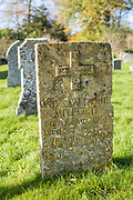 Headstones of the graves of the famous Mitford family - Unity Valkyrie Mitford - n the churchyard of St Mary's Church in Swinbrook in The Cotswolds, Oxfordshire