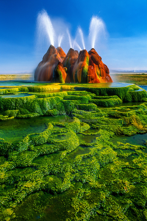 One of my images from a two day visit to the Fly Geyser in Nevada, near the Black Rock Desert.  This image was made with a Canon EOS-1N and a Canon TS-E 24/3.5L lens on Fujichrome Velvia.  It was quite interesting exploring this natural phenomenon for such a prolonged time and to stand in the hot water surrounding the geyser.<br /> .....<br /> The continuous Fly Geyser of Fly Ranch is on private land in Nevada and began during 1916 when a water well drilling operation accidentally penetrated a geothermal source.<br /> Fly Geyser, also known as Fly Ranch Geyser is a small geothermal geyser that is located approximately 20 miles (32 km) north of Gerlach, in Washoe County, Nevada. The Geyser is located in Hualapai Flat, about 1/3 of a mile from State Route 34. It is large enough to be seen from the road.<br /> .....<br /> Fly Geyser is a little-known tourist attraction, even to Nevada residents. It is located near the edge of Fly Reservoir and is only about 5 feet (1.5 m) high, (12 feet (3.7 m) counting the mound on which it sits). The water well functioned normally for several decades, but in the 1960s geothermally heated water found a weak spot in the wall and began escaping to the surface. Dissolved minerals started rising and accumulating, creating the mount on which the geyser sits, which continues growing. Today water is constantly spewing, reaching 5 feet (1.5 m) in the air. The geyser contains several terraces discharging water into 30 to 40 pools over an area of 30 hectares (74 acres). The geyser is made up of a series of different minerals, which gives it its magnificent coloration.<br /> .....<br /> There are two additional geysers in the area that were created in a way similar to Fly Geyser. The first geyser is approximately three feet high and is shaped like a miniature volcano. The second geyser is cone-shaped and is of the same approximate size as Fly Geyser. Like Fly Geyser, these geysers are continually growing.