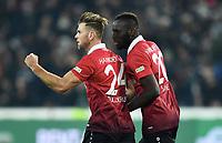 1:1 Jubel v.l. Torschuetze Niclas Fuellkrug, Salif Sane (Hannover)<br />Hannover, 24.11.2017, Fussball Bundesliga, Hannover 96 - VfB Stuttgart<br /> Norway only