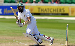 South Africa's Hashim Amla bats during the tour match at The County Ground, Taunton.