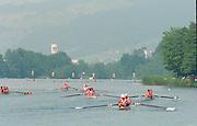 Lucerne, Switzerland. 1995 FISA WC III, Lake Rotsee, Lucerne,<br /> M4-, return to the boating area.<br /> [Mandatory Credit. Peter SPURRIER/Intersport Images]<br /> <br /> Image scanned from Colour Negative