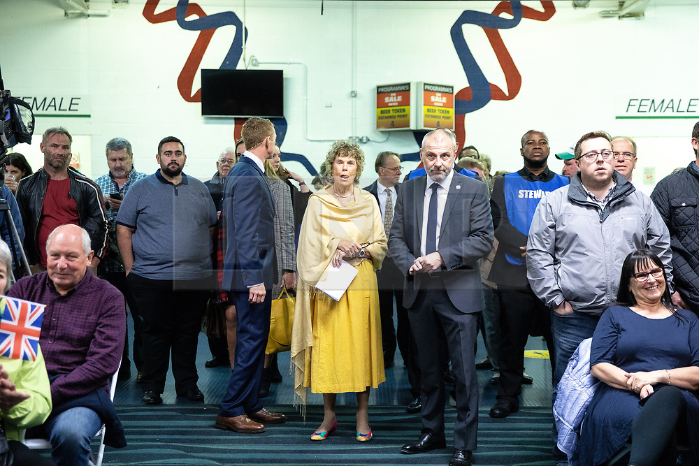 """© Licensed to London News Pictures . 22/09/2018. Bolton, UK. KATE HOEY waits to enter the auditorium to speak . Pro Brexit campaign group Leave Means Leave host a """" Save Brexit """" and """" Chuck Chequers """" rally at the University of Bolton Stadium , attended by leave-supporting politicians from a cross section of parties , including Conservative David Davis , former UKIP leader Nigel Farage and Labour's Kate Hoey . Photo credit: Joel Goodman/LNP"""