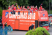 Atletico de Madrid female celebrating Female League Championship at Neptune Fountain in Madrid, Spain. May 18, 2018. (ALTERPHOTOS/Borja B.Hojas)
