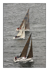 Day 2 of the Bell Lawrie Scottish Series with wild conditions on Loch Fyne for all fleets. Exhilarating and testing racing for Boats and crew...Class 2.  GBR4754T, Sunrise to windward of   GBR7031T, Sanguma and 3830C, Salamander XVIII..