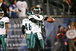 Philadelphia Eagles quarterback Michael Vick #7 warms up before the NFL game between the Philadelphia Eagles and the Chicago Bears on November 22nd 2009. The Eagles won 24-20 at Soldier Field in Chicago, Illinois. (Photo By Brian Garfinkel)