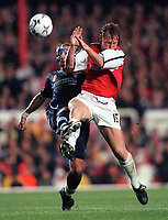 Ray Parlour (Arsenal) Sinisa Mihajovic (Lazio). Arsenal 2:0 Lazio, Highbury Stadium, UEFA Champions League, Group B, 27/9/2000. Credit Colorsport / Stuart MacFarlane.