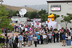 June 3, 2017 - San Juan Capistrano, California, United States - June 3, 2017_San Juan Capistrano, California_USA_| Protesters crowd in front the theater at San Juan High School before the Representative Issa Town Hall Meeting. |_Photo Credit: Photo by Charlie Neuman (Credit Image: © Charlie Neuman via ZUMA Wire)