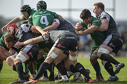 March 2, 2019 - Galway, Ireland - Connacht and Ospreys players in action during the Guinness PRO 14 match  between Connacht Rugby and Ospreys at the Sportsground in Galway, Ireland on March 2, 2019  (Credit Image: © Andrew Surma/NurPhoto via ZUMA Press)