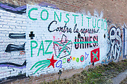 """Spanish constitution vs Catalan Independence - graffiti near Tibidabo, Barcelona. Catalan independence graffiti crossed out - urnes, meaning ballot boxes, crossed out and replaced by the word """"constitution""""."""