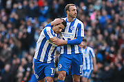 Brighton & Hove Albion winger Anthony Knockaert scores a goal to make it 3-0 & celebrates with Brighton & Hove Albion centre forward Glenn Murray during the EFL Sky Bet Championship match between Brighton and Hove Albion and Queens Park Rangers at the American Express Community Stadium, Brighton and Hove, England on 27 December 2016. Photo by Bennett Dean.