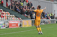 Newport County's Sean Rigg celebrates after scoring his sides 1st and equalising goal. Skybet EFL league two match, Newport county v Crewe Alexandra at Rodney Parade in Newport, South Wales on Saturday 20th August 2016.<br /> pic by David Richards, Andrew Orchard sports photography.