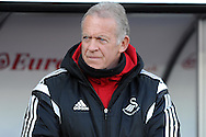 Swansea City legend Alan Curtis, the Swansea assistant manager takes charge while first team manager Francesco Guideline recovers in hospital with a chest infection. Barclays Premier league match, Swansea city v Norwich city at the Liberty Stadium in Swansea, South Wales on Saturday 5th March 2016.<br /> pic by  Carl Robertson, Andrew Orchard sports photography.