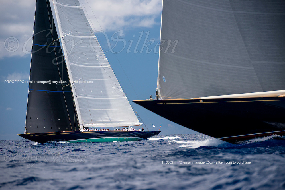 Velsheda and Topaz sailing in the J Class Race at the St. Barth's Bucket Regatta. Photo by Cory Silken.