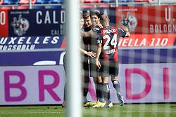 """Foto Filippo Rubin<br /> 18/10/2020 Bologna (Italia)<br /> Sport Calcio<br /> Bologna - Sassuolo - Campionato di calcio Serie A 2020/2021 - Stadio """"Renato """"Dall'Ara<br /> Nella foto: ESULTANZA GOAL BOLOGNA MATTIAS SVANBERG (BOLOGNA FC)<br /> <br /> Photo Filippo Rubin<br /> October 18, 2020 Bologna (Italy)<br /> Sport Soccer<br /> Bologna vs Sassuolo - Italian Football Championship League A 2020/2021 - """"Renato Dall'Ara"""" Stadium <br /> In the pic: CELEBRATION GOAL BOLOGNA MATTIAS SVANBERG (BOLOGNA FC)"""