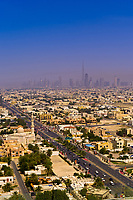 Skyline of Downtown Dubai, with the tallest building in the world, the Burj Khalifa, in the center, United Arab Emirates