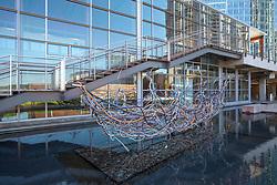 United States, Washington, Bellevue, outdoor sculpture in fountain at Bellevue City Hall