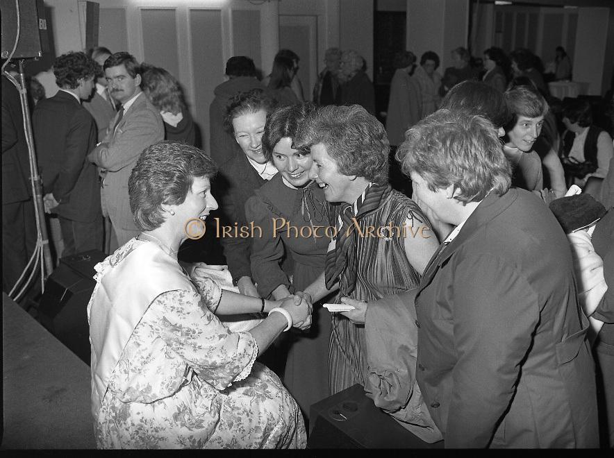 "Calor Kosangas Housewife of the Year - Dublin Regional Final.26/10/1982  26.10.1982..""Calor Kosangas Housewife Of The Year 1982"". Dublin Regional Final..The final was held in the Gresham Hotel,O'Connell St,Dublin. The winner was Mrs.,Deirdre Ryan,Derrypatrick,Drumree,Co Meath..I.C.A friends Margaret Reynolds, Josephine Dunleavy,Breda Feehy and Kathleen McCaffery congratulate Deirdre."