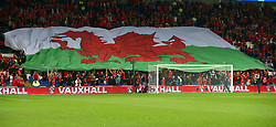 October 9, 2017 - Cardiff City, Walles, United Kingdom - Wales Flag before kick off.during Ireland supporters celebrate the teams win at full time FIFA World Cup Qualifying - European Group D match between Wales against Republic of Ireland at Cardiff City Stadium Cardiff City Football Club on 09 Oct  2017  (Credit Image: © Kieran Galvin/NurPhoto via ZUMA Press)