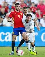 Spain's Borja Mayoral (l) and Italy's Calabria during international sub 21 friendly match. September 1,2017.(ALTERPHOTOS/Acero)