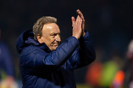 Cardiff City manager Neil Warnock applauds the fans after the The FA Cup 3rd round match between Gillingham and Cardiff City at the MEMS Priestfield Stadium, Gillingham, England on 5 January 2019. Photo by Martin Cole.