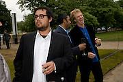 SAM GEHRY; ANANAND DEVARAJAN; IVAN HARBOUR, Frank Gehry Serpentine Pavilion opening event: Serpentine Gallery, Kensington Gardens. London. 18 July 2008 *** Local Caption *** -DO NOT ARCHIVE-© Copyright Photograph by Dafydd Jones. 248 Clapham Rd. London SW9 0PZ. Tel 0207 820 0771. www.dafjones.com.