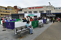 Tennis - 2021 All-England Championships - Week One - Wimbledon<br /> <br /> Fans queue for the taxis outside Wimbledon mainline station.<br /> <br /> COLORSPORT/ASHLEY WESTERN