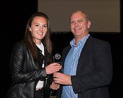 Andrew Jones, Sales and Marketing Director of 1st Office presents the Sponsor Player of the Season award to Bristol Academy midfielder Caroline Weir - Photo mandatory by-line: Paul Knight/JMP - Mobile: 07966 386802 - 11/10/2015 - Sport - Football - Bristol - Stoke Gifford Stadium - Bristol Academy WFC End of Season Awards 2015