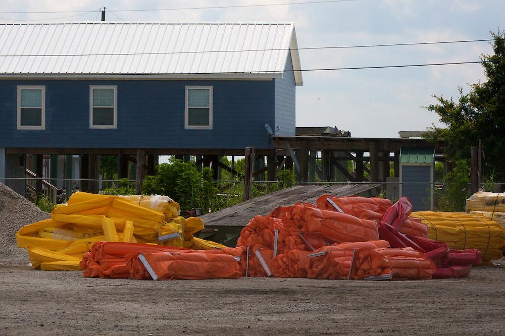 Oil boom pile at Shell Beach, St. Bernard Parish, Louisiana