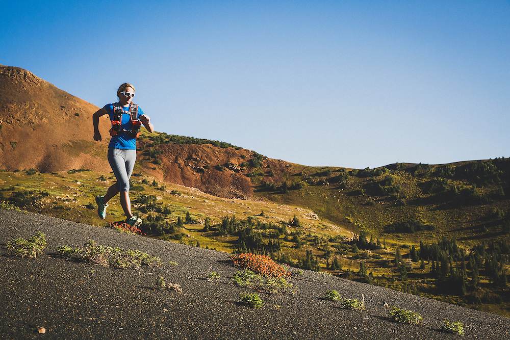 Jari Hiatt running Washington Gulch, Crested Butte, Colorado.