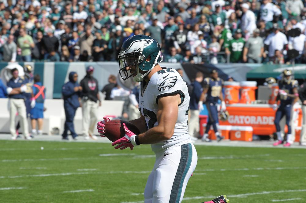 Chris Maragos #42 of the Philadelphia Eaglesof the Eagles vs the Rams @Phila. on 10-5-14    ( Ed Mahan Photo)