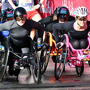 Wheelchairs race start men and women at The Vitality Big Half 2019 on 10 March 2019, London, UK.