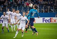 ST PETERSBURG, RUSSIA - OCTOBER 19, 2017. UEFA Europa League group stage: Zenit St Petersburg (Russia) 3 – 1 Rosenborg BK (Norway). Rosenborg's Vegar Hedenstad (L) against Zenit St Petersburg's Aleksander Kokorin (R).