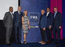 (left to right) Les Ferdinand, Arsene Wenger, Jacqui Oatley MBE, Gary Lineker, Paul Elliot and Henry Winter during the Football Writers Association Live event at Ham Yard Hotel, London.