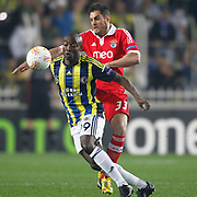 Fenerbahce's Pierre Achille Webo Kouamo (L) and Benfica's Jardel (R) during their UEFA Europa League Semi Final first match Fenerbahce between Benfica at Sukru Saracaoglu stadium in Istanbul Turkey on Thursday 25 April 2013. Photo by Aykut AKICI/TURKPIX