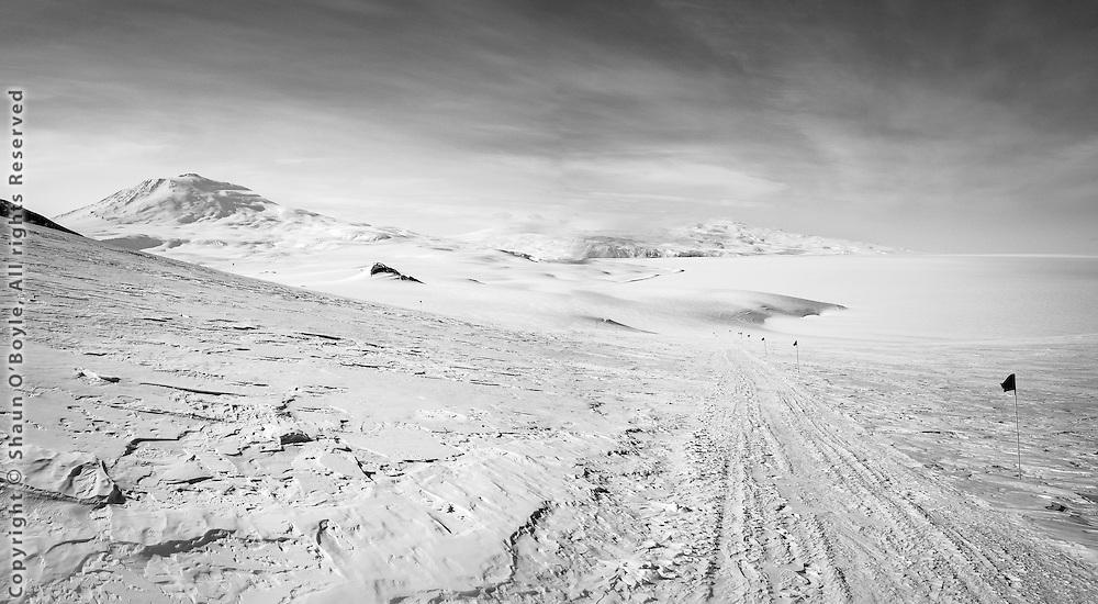 Mount Erebus, Mount Terror and Ross Ice Shelf from Castle Rock