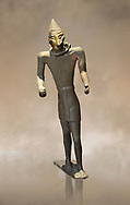 Hittite bronze figure with a mask, Hittite Period. Adana Archaeology Museum, Turkey. .<br /> <br /> If you prefer to buy from our ALAMY STOCK LIBRARY page at https://www.alamy.com/portfolio/paul-williams-funkystock/hittite-art-antiquities.html . Type - Adana - in LOWER SEARCH WITHIN GALLERY box. Refine search by adding background colour, place, museum etc.<br /> <br /> Visit our HITTITE PHOTO COLLECTIONS for more photos to download or buy as wall art prints https://funkystock.photoshelter.com/gallery-collection/The-Hittites-Art-Artefacts-Antiquities-Historic-Sites-Pictures-Images-of/C0000NUBSMhSc3Oo