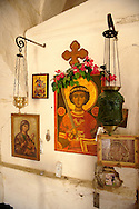 Interior of Greek Orthodox church, Paliachora,  Aegina, Greek Saronic Islands .<br /> <br /> If you prefer to buy from our ALAMY PHOTO LIBRARY  Collection visit : https://www.alamy.com/portfolio/paul-williams-funkystock/aegina-greece.html <br /> <br /> Visit our GREECE PHOTO COLLECTIONS for more photos to download or buy as wall art prints https://funkystock.photoshelter.com/gallery-collection/Pictures-Images-of-Greece-Photos-of-Greek-Historic-Landmark-Sites/C0000w6e8OkknEb8