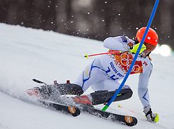 22.02.2014, Rosa Khutor Alpine Resort, Krasnaya Polyana, RUS, Sochi, 2014, Slalom, Herren, 1. Durchgang, im Bild Markus Larsson (SWE) // Markus Larsson of Sweden in action during the 1st run of mens Slalom to the Olympic Winter Games Sochi 2014 at the Rosa Khutor Alpine Resort, Krasnaya Polyana, Russia on 2014/02/22. EXPA Pictures © 2014, PhotoCredit: EXPA/ Johann Groder