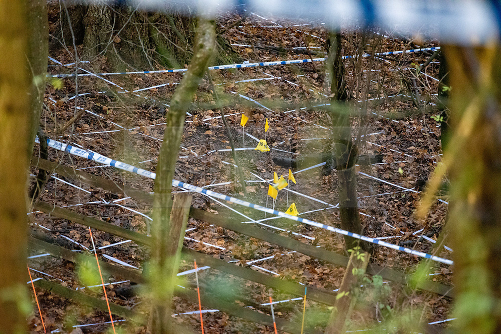 FILE IMAGE © Licensed to London News Pictures. 10/12/2019. Beaconsfield, UK. Police tape and evidence identification markers on woodland floor as the Metropolitan Police Service confirm they are searching woodland in Beaconsfield, Buckinghamshire in connection with the disappearance and murder of Mohammed 'Shah' Subhani. Police have been in the area conducting operations on Hedgerley Lane since Thursday 5th December 2019 and are combing wooded area with specialist officers assisted by specialist search dogs. Photo credit: Peter Manning/LNP