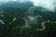 Ecuador, May 5 2010: View of river and jungle from airplane from Shell to Huaorani Territory. Copyright 2010 Peter Horrell