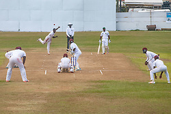 Leeward Islands Hurricanes captain Nkrumah Bonner bowls to his opposite number Liam Sebastien of Windward Islands Volcanoes on the third day of the seventh round match in the WICB Professional Cricket League Regional 4-Day Tournament on Sunday, February 21, 2016 at the Addelita Cancryn Junior High School.© Aisha-Zakiya Boyd