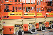 Herc Rental Lift Machines photographed as part of an annual report and corporate library shoot.